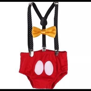 Other - Mickey Mouse birthday boys outfit suspenders 1st